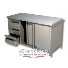 PROF.60: Tavolo armadiato attrezzato con porte scorr. e 3 cassetti SX s/alzatina