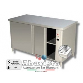 PROF.70: tavolo armadiato caldo ante scorrevoli alim.230v ass.2500w s/alzatina