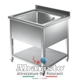 PROF.60: lavatoio aperto 1 vasca s/sgocc. c/ripiano inf. vasca