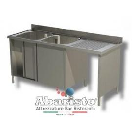 PROF.60: lavatoio su vano pattumiera armadiato 2 vasche sgocc.dx