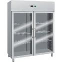 ARMADIO REFRIGERATO ventilato 2 porte a vetro interamente in acciaio inox temp.-2/+8°C cap.1400 lt.