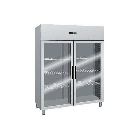 ARMADIO FRIGORIFERO ventilato 2 porte a vetro interamente in acciaio inox temp.-2/+8°C cap.1400 lt.