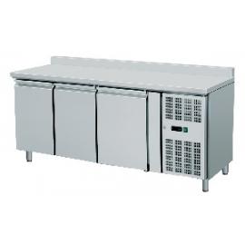 TAVOLO REFRIGERATO TN ventilato 3 porte con alzatina interamente in acciaio inox temp. -2/+8°C cap. 450 lt.