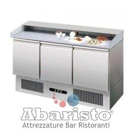 BANCO REFRIGERATO PIZZA TN statico 3 porte interamente in acciaio inox AISI304 temp. +2/+8°C cap. 400 lt.