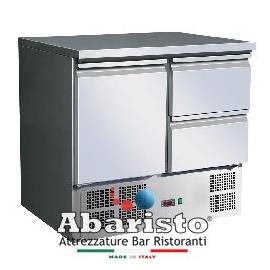 SALADETTE REFRIGERATA TN statica 1 porta/2 cassetti interamente in acciaio inox AISI304 temp. +2/+8°C cap. 250 lt.