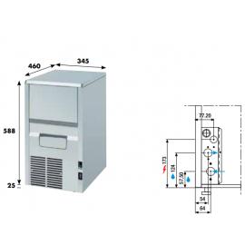 Fabbricatore ghiaccio a spruzzo KL22 - 25 kg/24h acqua