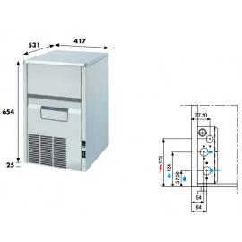 Fabbricatore ghiaccio a spruzzo KL302 - 30 kg/24h ad aria da incasso