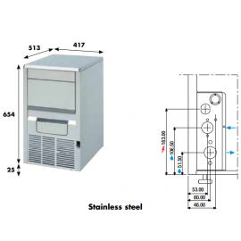 Fabbricatore ghiaccio a palette KP20 - 21 kg/24h ad aria