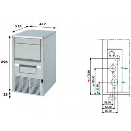 Fabbricatore ghiaccio a palette KP30F - 28 kg/24h da incasso