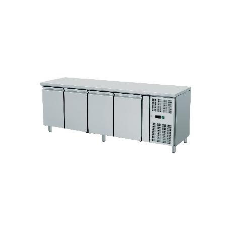 TAVOLO REFRIGERATO TN ventilato 4 porte interamente in acciaio inox temp. -18/-22°C cap. 600 lt.