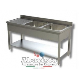 PROF.70cm: lavello aperto su gambe con ripiano e gocciolatoio SX (in acciaio AISI430)