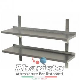 MENSOLA DOPPIA interamente in acciaio inox AISI430 COMPLETA di CREMAGLIERA PROF. 30