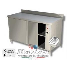 PROF.70: tavolo armadiato caldo con ante scorrevoli c/alz. alim.230v ass.2500w