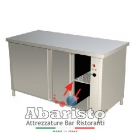 PROF.70: tavolo armadiato caldo ante scorrevoli su 2 lati alim.230v ass.2500w