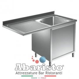 Lavello armadiato a sbalzo in acciaio inox 1 vasca con sgocciolatoio e vano lavastoviglie sx PROF.60 cm ( acciaio 18/10 AISI304)