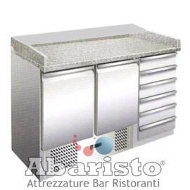 BANCO REFRIGERATO PIZZA TN statico 2 porte/6 cassetti interamente in acciaio inox AISI304 temp. +2/+8°C cap. 300 lt.
