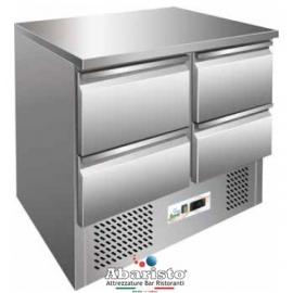 SALADETTE REFRIGERATA TN statica 4 cassetti interamente in acciaio inox AISI304 temp. +2/+8°C cap. 250 lt.