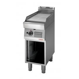 FRY TOP GAS PIASTRA LISCIA CROMATA interamente in acciaio inox AISI304 con armadio aperto