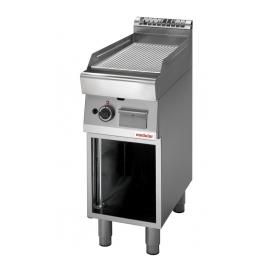 FRY TOP ELETTRICO PIASTRA RIGATA CROMATA interamente in acciaio inox AISI304 con armadio aperto
