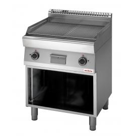 FRY TOP ELETTRICO PIASTRA RIGATA interamente in acciaio inox AISI304 con armadio aperto