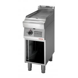 FRY TOP GAS PIASTRA LISCIA PIANA interamente in acciaio inox AISI304 con armadio aperto/foro di scarico su piastra