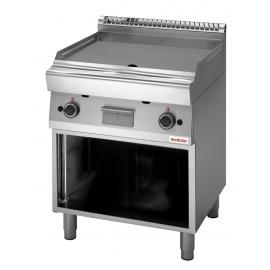 FRY TOP GAS PIASTRA LISCIA PIANA interamente in acciaio inox AISI304 con armadio aperto/foro di scarico piastra