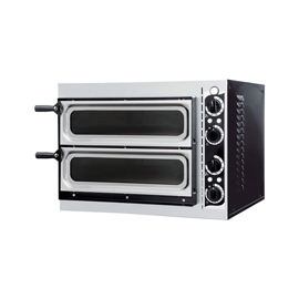 FORNO ELETTRICO PER PIZZA SMALL BASIC 2/40 GLASS & LIGHT 2 CAMERE interamente in acciaio inox