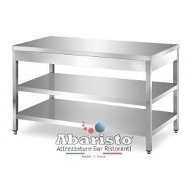 PROF.60: tavolo su gambe con 2 ripiani s/alzatina