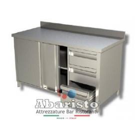 PROF.60: tavolo armadiato attrezzato con porte scorr. e 3 cassetti DX c/alzatina