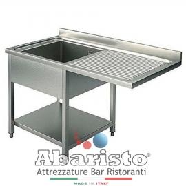 LAVATOIO SBALZO APERTO 1 VASCA C/SGOCCIOLATOIO DESTRA PROF. 70 interamente in acciaio inox AISI304