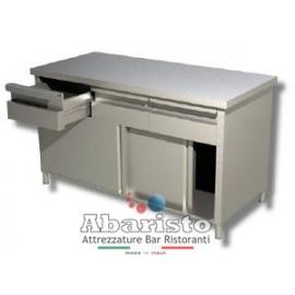 PROF.60: tavolo armadiato porte scorr. e cassetti s/alzatina