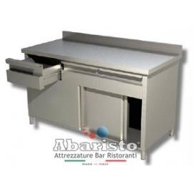PROF.60: tavolo armadiato porte scorr. e cassetti c/alzatina