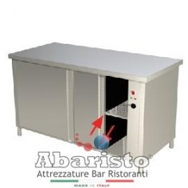 Tavolo da lavoro armadiato caldo passante in acciaio inox 4 ante scorrevoli senza alzatina PROF. 70 cm. ( acciaio 18/10 AISI304)