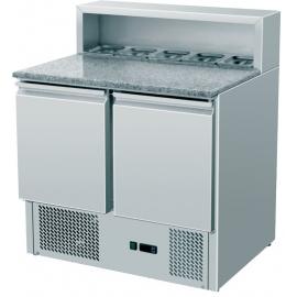 SALADETTE REFRIGERATA PIZZA TN statica 2 porte interamente in acciaio inox temp. -2/+8°C cap. 300 lt.