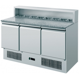 SALADETTE REFRIGERATA PIZZA TN statica 3 porte interamente in acciaio inox temp. -2/+8°C cap. 400 lt.