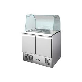 SALADETTE REFRIGERATA TN statica 2 porte interamente in acciaio inox con vetro curvo temp. +2/+8°C cap.300 lt.