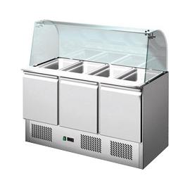 SALADETTE REFRIGERATA TN statica 3 porte con vetro curvo interamente in acciaio inox temp. +2/+8°C cap.400 lt.