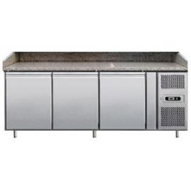 BANCO REFRIGERATO PIZZA TN ventilato 3 porte interamente in acciaio inox temp. -2/+8°C cap. 600 lt.