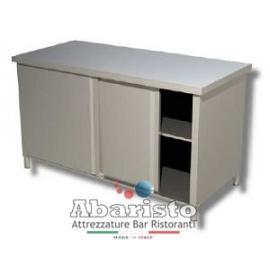 PROF.60cm: Tavolo armadiato senza alzatina (in acciaio inox AISI 304)