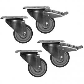 RBA4: kit 4 ruote (2 con freno) per frigo AMITEK