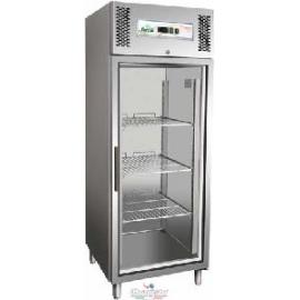 ARMADIO REFRIGERATO ventilato 1 porta a vetro interamente in acciaio inox 18/10 AISI304 temp.-2/+8°C cap.650 lt.