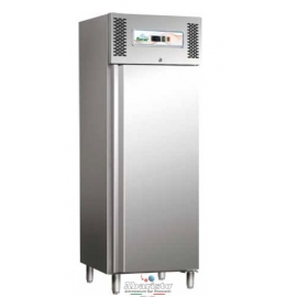 ARMADIO REFRIGERATO statico 1 porta interamente in acciaio inox 18/10 AISI304 temp.+2/+8°C cap.650 lt.