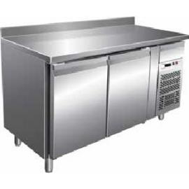 TAVOLO REFRIGERATO ventilato 2 porte con alzatina interamente in acciaio inox AISI304 temp. -18/-22°C cap. 300 lt.