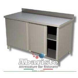 PROF.60cm: tavolo armadiato con alzatina (in acciaio inox AISI 304