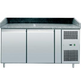 BANCO REFRIGERATO PIZZA TN ventilato 2 porte interamente in acciaio inox AISI304 temp. +2/+8°C cap. 400 lt.