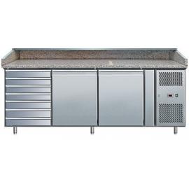 BANCO REFRIGERATO PIZZA TN ventilato 2 porte/7 cassetti interamente in acciaio inox AISI304 temp. +2/+8°C cap. 400 lt.