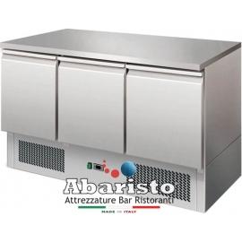 SALADETTE REFRIGERATA TN statica 3 porte interamente in acciaio inox AISI304 temp. +2/+8°C cap. 400 lt.