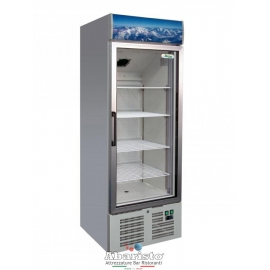 ARMADIO REFRIGERATO statico 1 porta a vetro con struttura esterna in acciaio inox temp.+2/+8°C cap.331 lt.