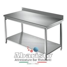 Tavolo da lavoro in acciaio inox su gambe con ripiano e alzatina PROFONDITA' 70 cm (Top acciaio inox AISI 304)