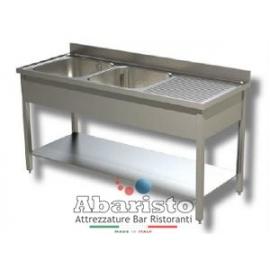 PROF.70cm: lavello aperto su gambe con ripiano e gocciolatoio DX (in acciaio AISI430)